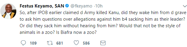"""Is Biafra now a zoo"": Festus Keyamo reacts to Nnamdi Kanu"