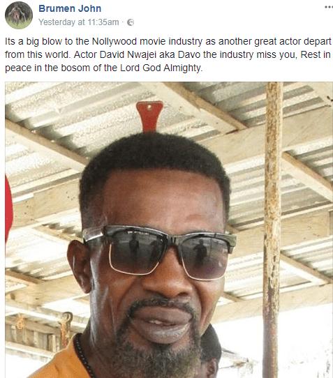 Nollywood actor, David Nwajei, has died