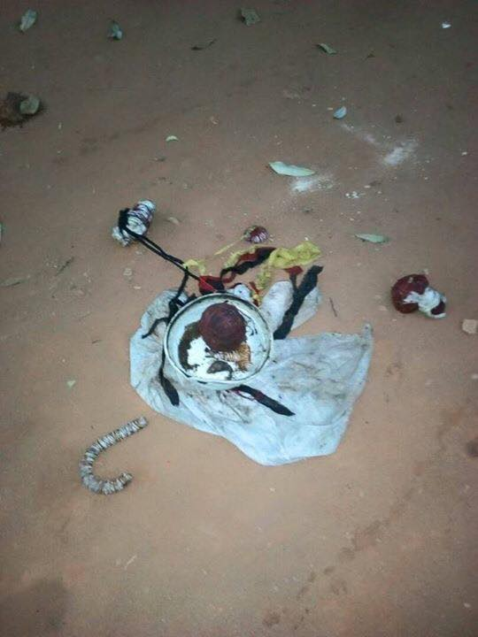 """#AnambraDecides: Charms found at Ilogwu Orie Nkpor Polling Unit with inscription """"Vote and Die."""" (Photos)"""