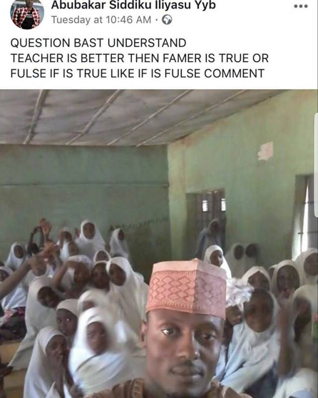 Choi! See what a teacher in Sokoto state wrote on Facebook...