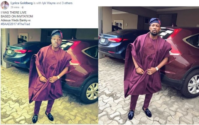 5a12c18a81ae3 - Lol..Nigerian man photoshops himself into Dotun's outfit to Banky W & Adesua's Trad.