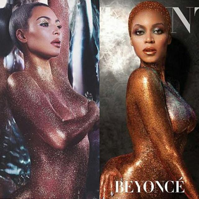 Who posed nude in glitter better? Beyonce vs Kim Kardashian