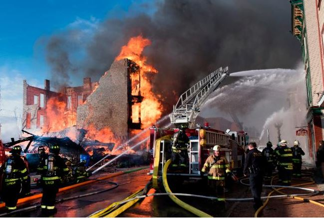 Man tries?to mimic a TV stunt but ends up setting off a huge fire that damaged 32 buildings, displaced at least 18 people