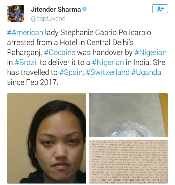 Photos/Video: American woman arrested in India with 1.9 kilograms of cocaine allegedly given to her by a Nigerian in Brazil