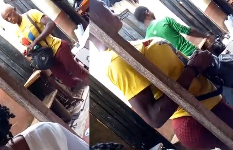 Funny looking cross-dresser spotted in Ibadan (Video)