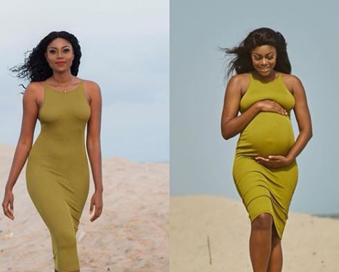Yvonne Nelson shares side by side photo of herself, before & after pregnancy?
