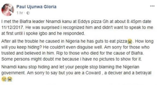 Nigerian lady claims she saw Nnamdi Kanu at a pizza shop in Ghana