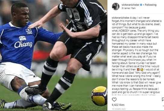 Footballer, Victor Anichebe shares throwback photos as he recalls the injury that altered his career