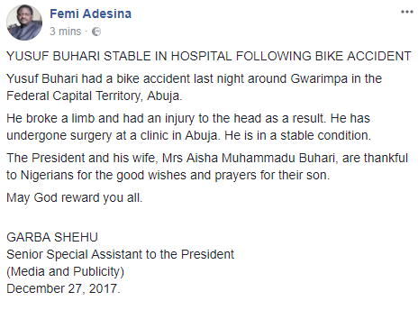 Buhari's son involved in a power bike crash, suffered head injury