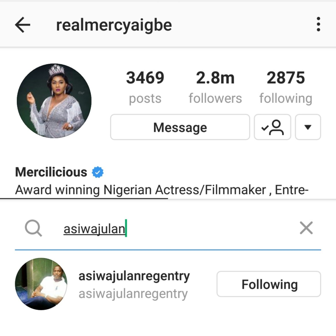 Months after their fallout over domestic violence, Mercy Aigbe re-follows estranged husband on Instagram