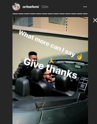 Photo: Oritsefemi shows of new Peugeot 307 convertible as birthday gift to himself