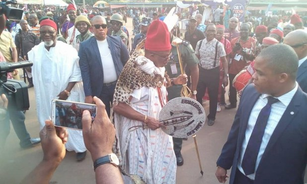 Anambra state governor, Willie Obiano, dances in Leopard skin as he bags chieftaincy title in Aguleri (photos)