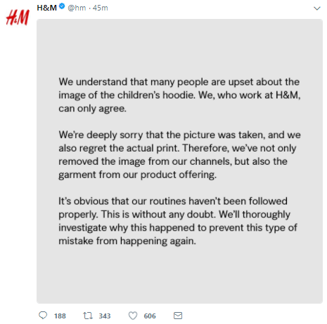 H&M release official statement apologizing for their racist advert campaign featuring a black boy