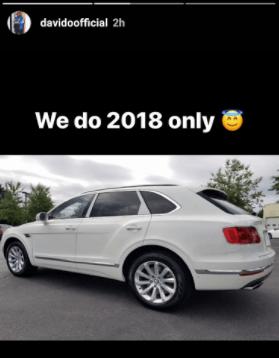 Davido brags about making half a billion at his last concert, shows off his 2018 Bentley Bentayga SUV
