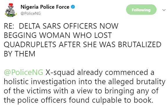 5a58a1e56cc11 - Police begins investigation into the brutalization of a pregnant woman who lost her set of quadruplets in Delta, says her assaulters are not SARS officials