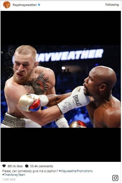5a590ab97e544 - Lol...Floyd Mayweather and Conor McGregor drag each other on social media, share photos from their mega fight to mock each other (Photos)