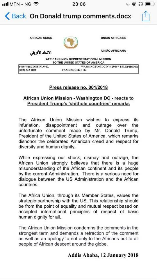 African Union expresses shock and outrage at Donald Trump