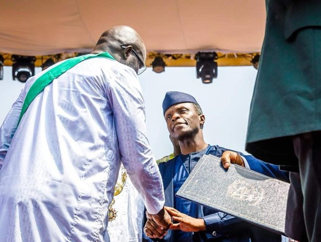 5a66564b20cb5 - Photos of Vice President Yemi Osinbajo at the inauguration of Liberia's 24th president, George Weah