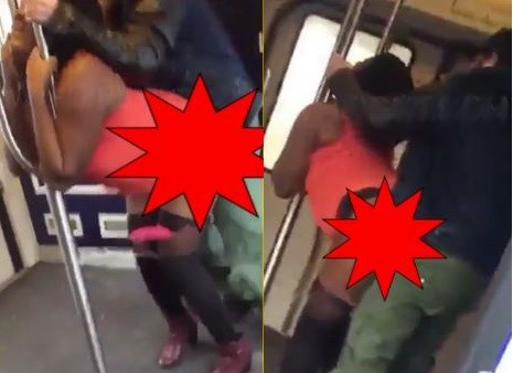 Video: couple filmed smashing on a subway train in front of other passengers (18+)
