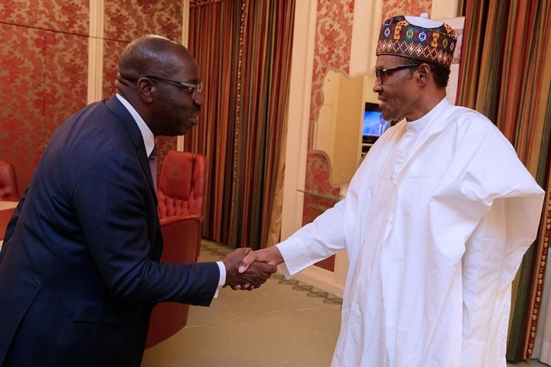 Photos: President Buhari receives ex-Edo state governor, Adams Oshiomole and the incumbent gov, Godwin Obaseki at the state house