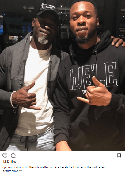 Hollywood actor Djimon Hounsou shares photo with singer Flavour and calls him African royalty