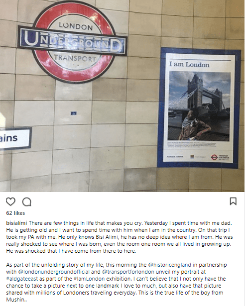 5a82e0f68cb40 - From Mushin to London: Bisi Alimi's portrait unveiled at the Aldgate East tube station in London