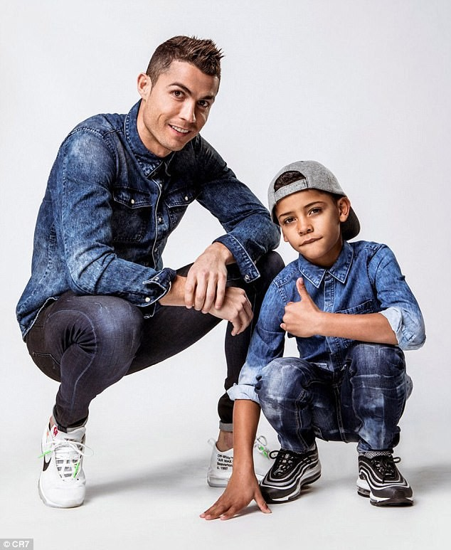 5a830bfc509fd - Father & Son: Cristiano Ronaldo and Cristiano Jr rock matching denim to promote their new clothing campaign (Photos)