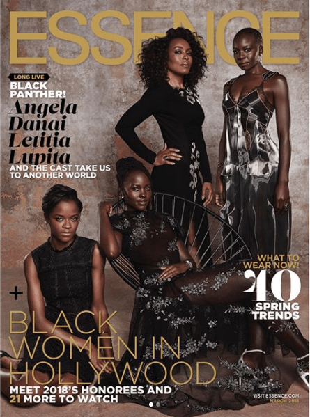 """5a83f86caa040 - """"Black Panther"""" cast cover Essence Magazine's March 2018 issue (photos)"""