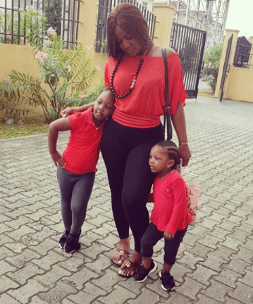 5a8419e1956fa - Singer, Timaya's babymama, Barbara and their daughters step out in matching outfit(photos)