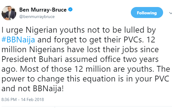 "5a851c0f775a5 - ""I urge Nigerian youths not to be lulled by #BBNaija and forget to get their PVCs"" - Ben Bruce"