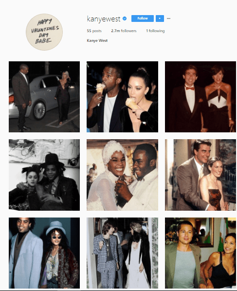 5a855722d47ee - Kanye West returns to Instagram after 8 months, and posts 54 couples photos during 9-hour instagram spree