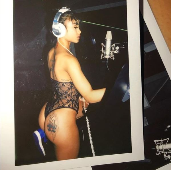 Rapper India Love hits the studio in see-through lingerie (Photos)