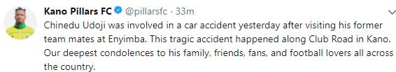 Kano Pillars? defender, Chinedu Udoji dies in auto crash