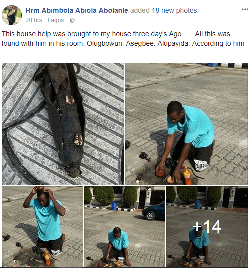 Shocking! Lady shares photos of the charms that was found in the possession of the house-help she hired few days ago