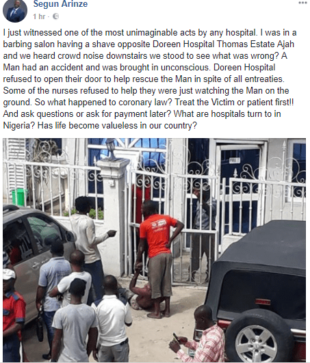 Hospital refuses to treat unconscious man following an accident in Lagos