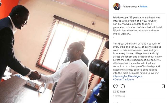 Fela Durotoye to run for president in 2019, joins Alliance for New Nigeria (ANN)