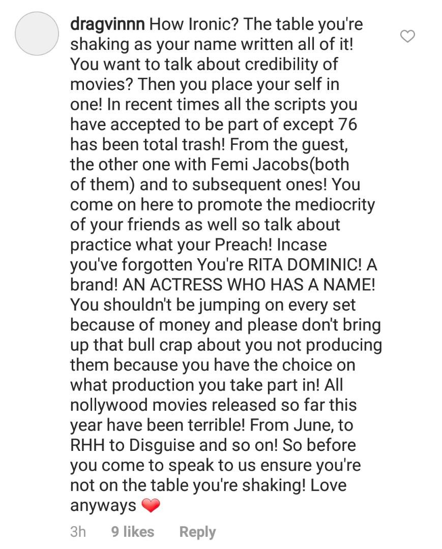 Rita Dominic schools non-fan who accused her of also featuring in movies not worthy of being shown in cinemas