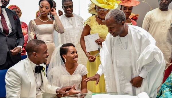 Photos: VP Yemi Osinbajo and wife attend the wedding of Adetuke Morgan & Akintola Oso who met at NYSC camp
