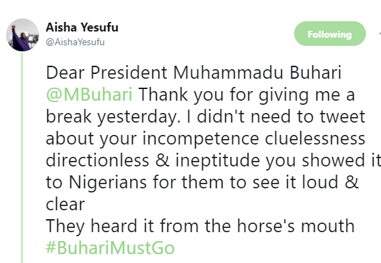 5aa7b8b50d8b6 - ''If the President has no update on IGP, how do you expect him to have update on Shekau? Cluelessness is a disease'' AIsha Yesufu