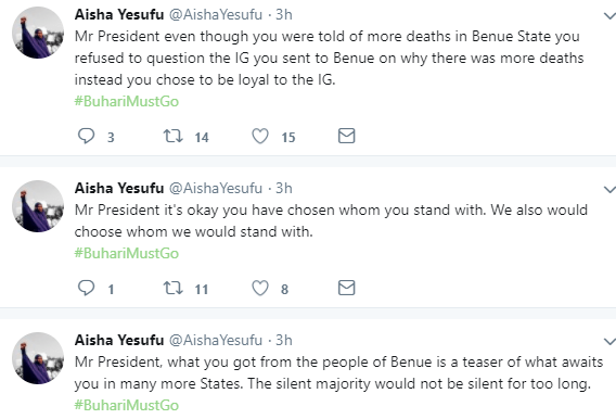 5aa7b8c82ba47 - ''If the President has no update on IGP, how do you expect him to have update on Shekau? Cluelessness is a disease'' AIsha Yesufu