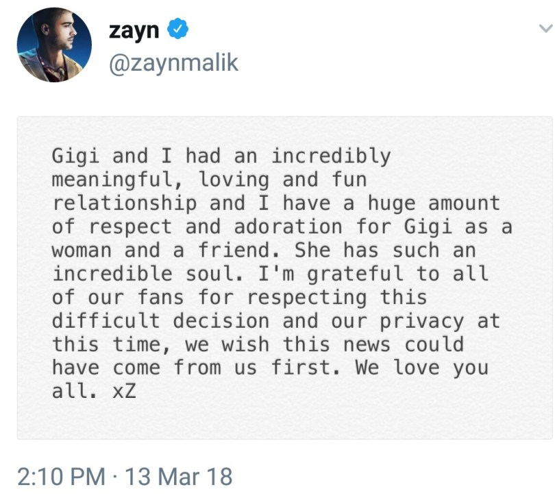 Zayn Malik and Gigi Hadid confirm breakup after 2 years of dating