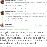 Enugu State University: Science And Technology Students Hires Assassins to Kill Lecturer Obstructing Their Graduation