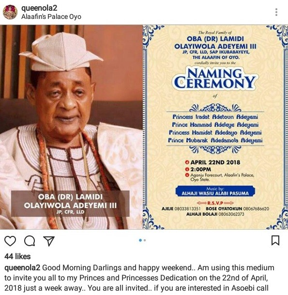 Alaafin of Oyo, Oba Lamidi Adeyemi to hold naming ceremony of his two sets of twins same day