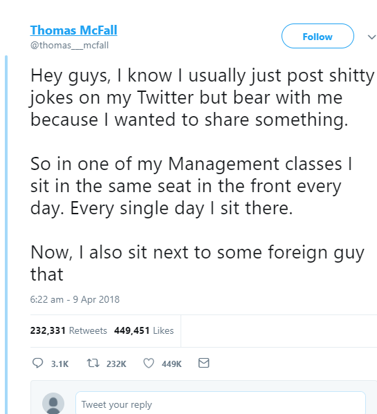 See what an American student's tweeted  about his encounter with his Arab classmate goes viral for all the right reasons