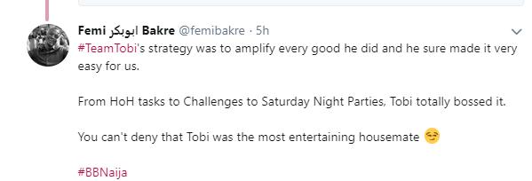BBNaija: Tobi