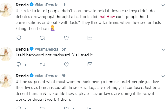 Dear Chimamanda, you?aren?t a feminist if u are telling a female what to do, let women live how they want - Dencia