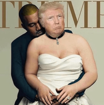 50cent trolls Kanye West on IG using a disrespectful photo of Kanye and Donald Trump! Lol