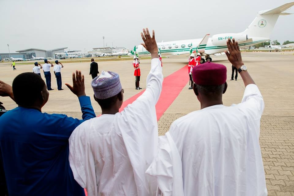 Photos: President Buhari departs Abuja for a 4-day medical trip to the UK