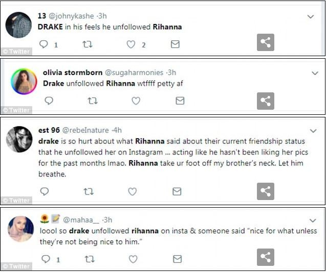Drake unfollows Rihanna on Instagram after she revealed