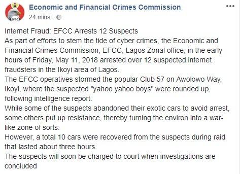 Photos: EFCC storm Club 57 in Lagos, arrest 12 suspected